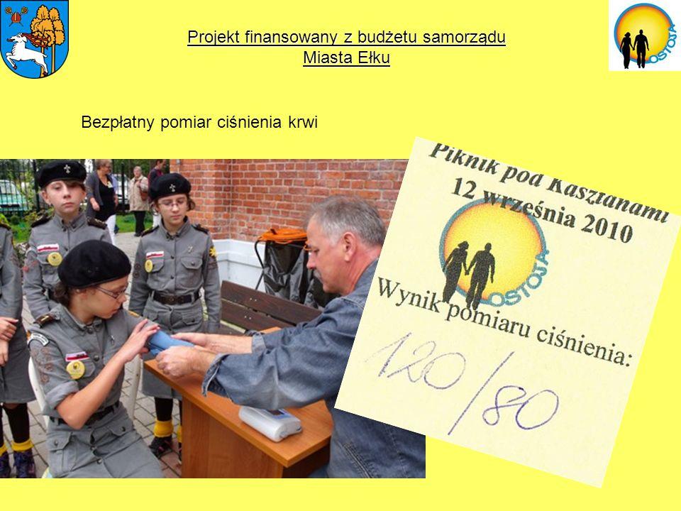 Projekt finansowany z budżetu samorządu Miasta Ełku Bezpłatny pomiar ciśnienia krwi