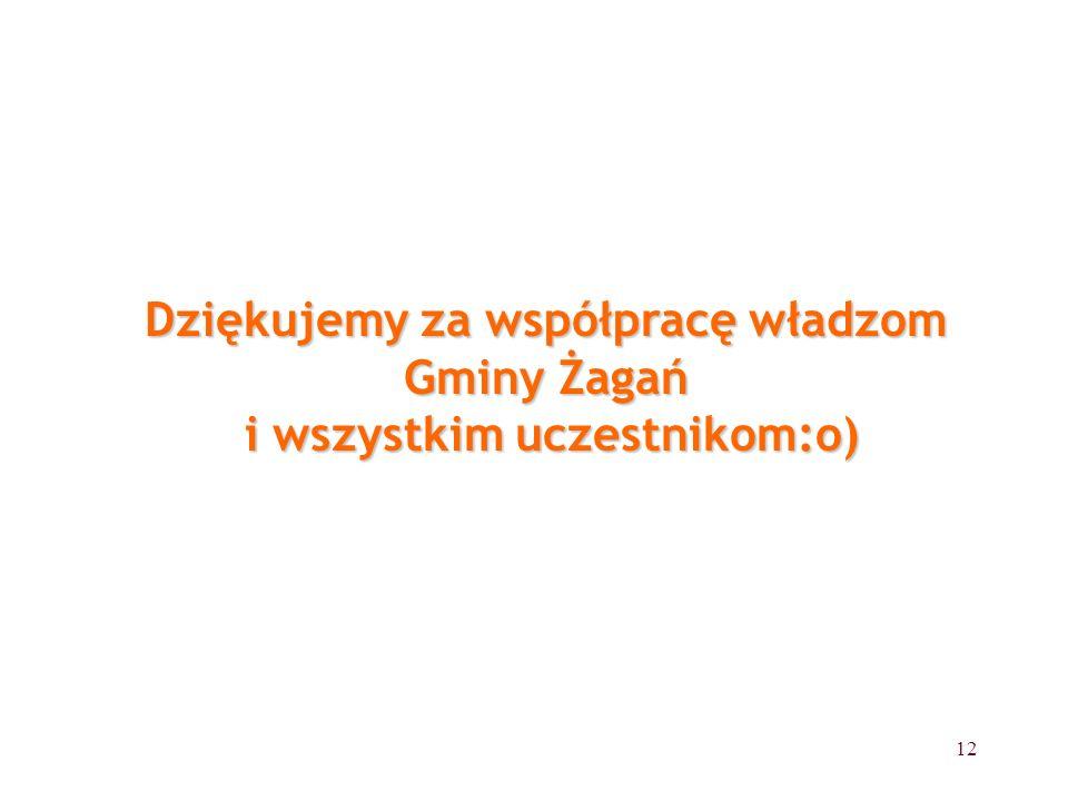 12 Dziękujemy za współpracę władzom Gminy Żagań i wszystkim uczestnikom:o)