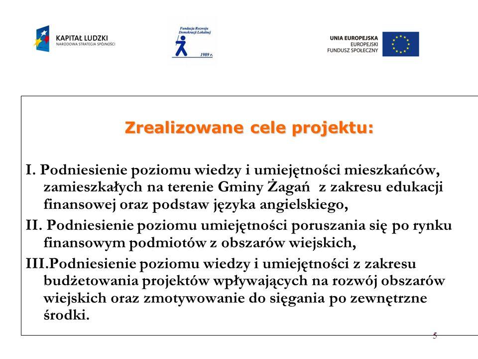 5 Zrealizowane cele projektu: I. Podniesienie poziomu wiedzy i umiejętności mieszkańców, zamieszkałych na terenie Gminy Żagań z zakresu edukacji finan