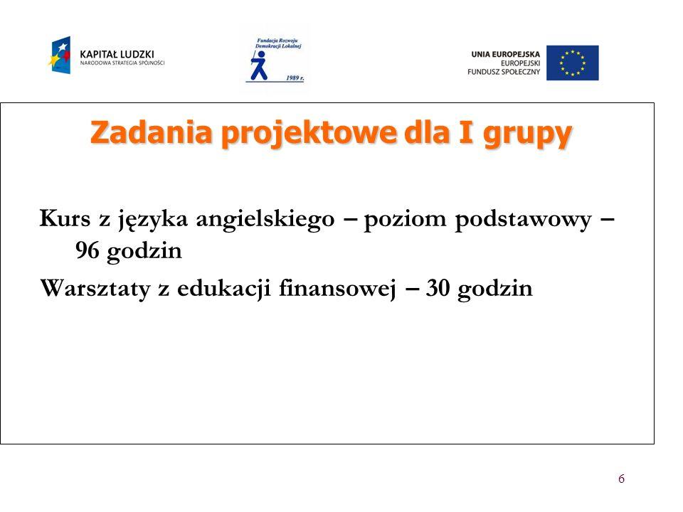 7 Zadania projektowe dla II grupy Zadania projektowe dla II grupy Ukonstytuowanie się forum, przyjęcie statutu i wyznaczenie władz.
