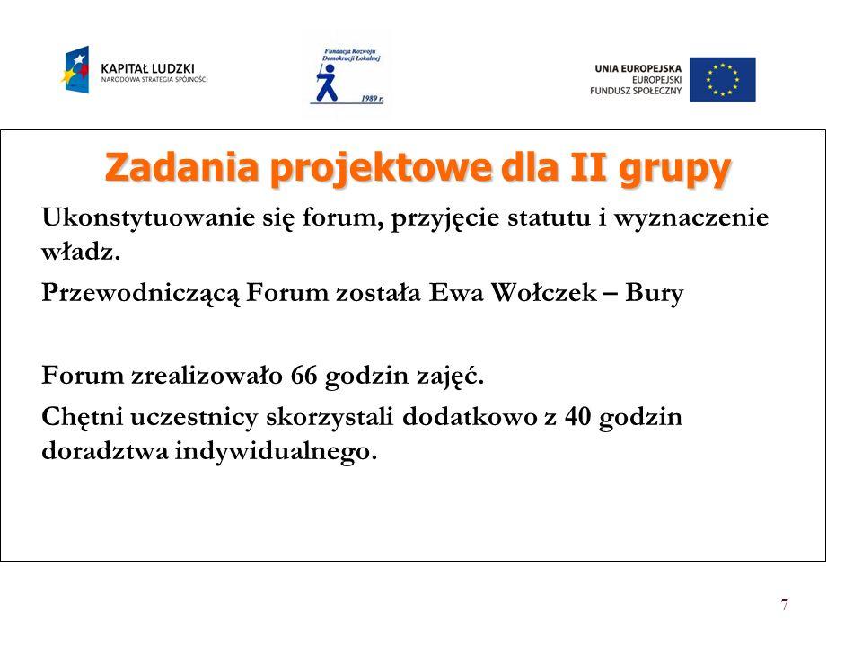 7 Zadania projektowe dla II grupy Zadania projektowe dla II grupy Ukonstytuowanie się forum, przyjęcie statutu i wyznaczenie władz. Przewodniczącą For