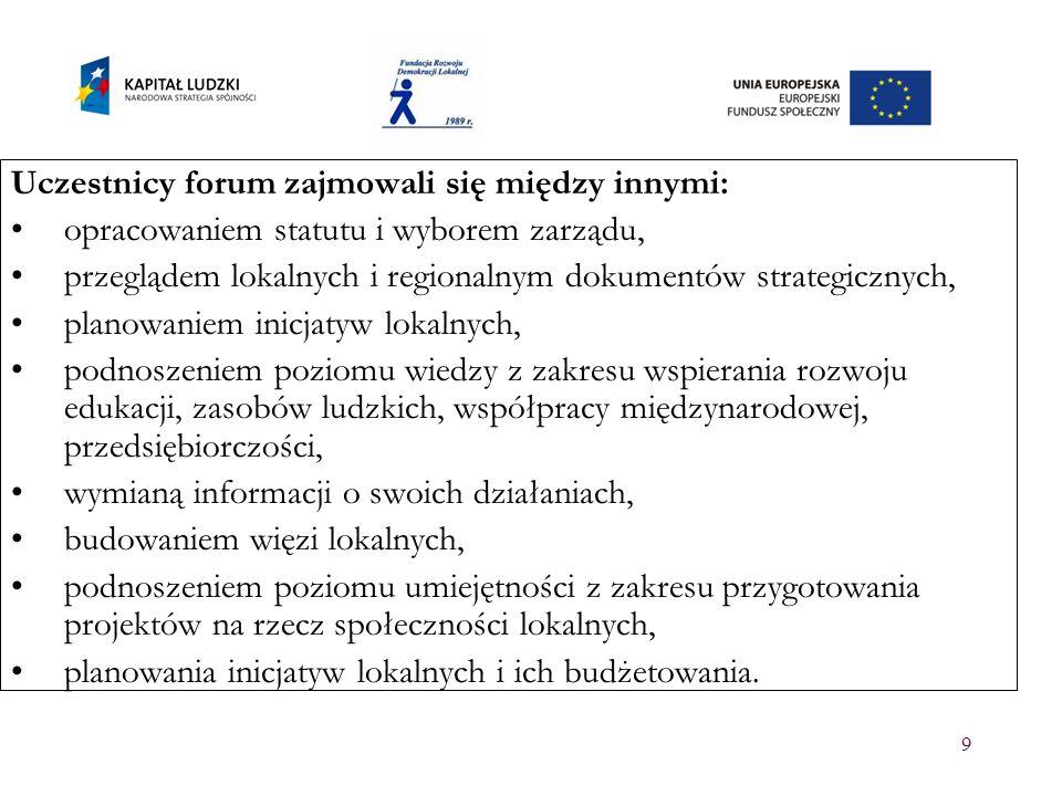 9 Uczestnicy forum zajmowali się między innymi: opracowaniem statutu i wyborem zarządu, przeglądem lokalnych i regionalnym dokumentów strategicznych,