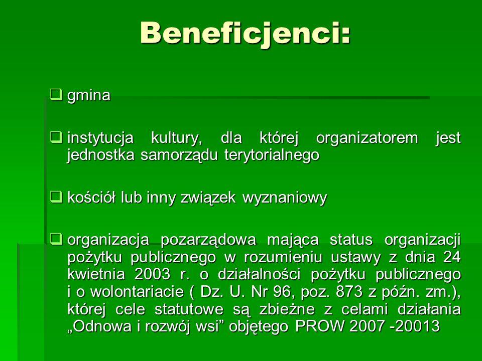 Beneficjenci: gmina gmina instytucja kultury, dla której organizatorem jest jednostka samorządu terytorialnego instytucja kultury, dla której organiza