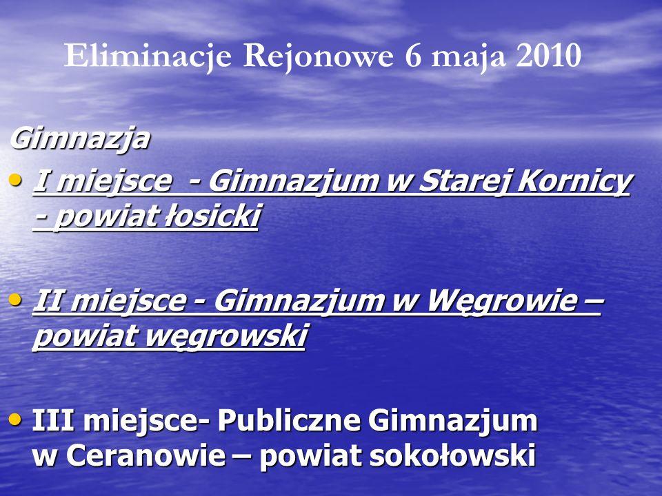 Gimnazja I miejsce - Gimnazjum w Starej Kornicy - powiat łosicki I miejsce - Gimnazjum w Starej Kornicy - powiat łosicki II miejsce - Gimnazjum w Węgr