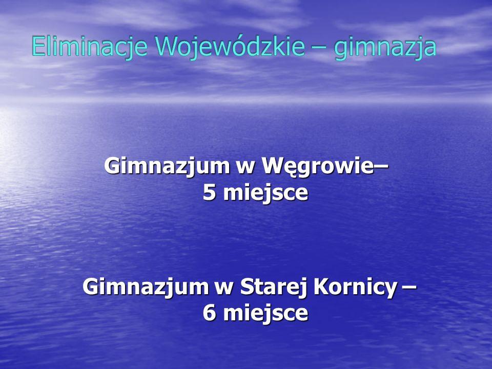 Gimnazjum w Węgrowie– 5 miejsce Gimnazjum w Starej Kornicy – 6 miejsce Gimnazjum w Starej Kornicy – 6 miejsce