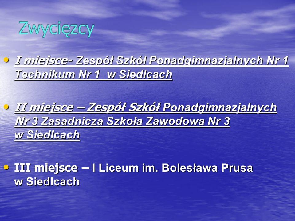 I miejsce- Zespół Szkół Ponadgimnazjalnych Nr 1 Technikum Nr 1 w Siedlcach I miejsce- Zespół Szkół Ponadgimnazjalnych Nr 1 Technikum Nr 1 w Siedlcach