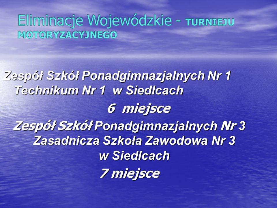 Zespół Szkół Ponadgimnazjalnych Nr 1 Technikum Nr 1 w Siedlcach 6 miejsce 6 miejsce Zespół Szkół Ponadgimnazjalnych Nr 3 Zasadnicza Szkoła Zawodowa Nr