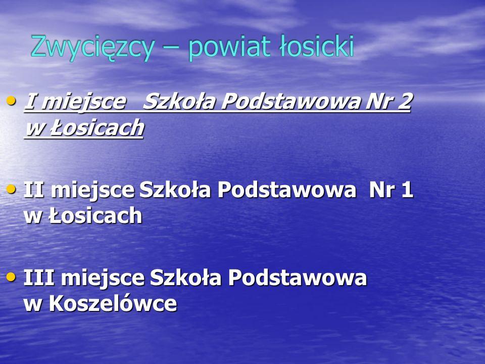 I miejsce Szkoła Podstawowa Nr 2 w Łosicach I miejsce Szkoła Podstawowa Nr 2 w Łosicach II miejsce Szkoła Podstawowa Nr 1 w Łosicach II miejsce Szkoła