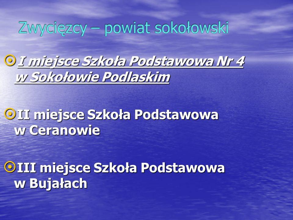 I miejsce Szkoła Podstawowa Nr 4 w Sokołowie Podlaskim I miejsce Szkoła Podstawowa Nr 4 w Sokołowie Podlaskim II miejsce Szkoła Podstawowa w Ceranowie