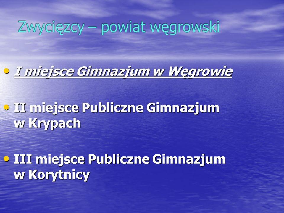 I miejsce Gimnazjum w Węgrowie I miejsce Gimnazjum w Węgrowie II miejsce Publiczne Gimnazjum w Krypach II miejsce Publiczne Gimnazjum w Krypach III mi