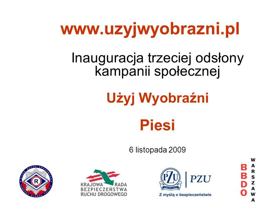Inauguracja trzeciej odsłony kampanii społecznej Użyj Wyobraźni Piesi 6 listopada 2009 www.uzyjwyobrazni.pl