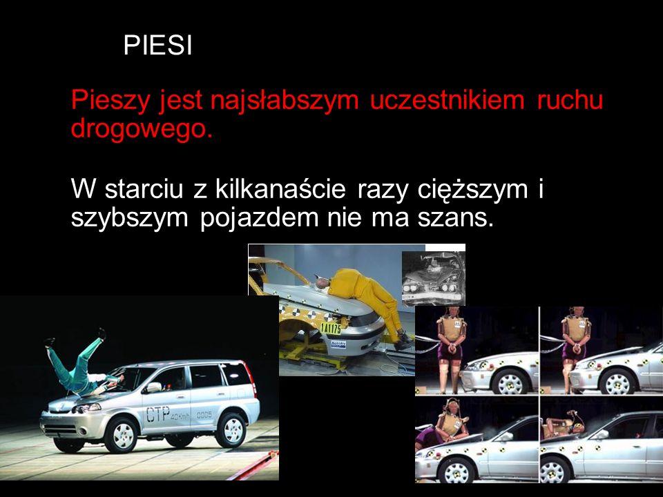 PIESI Pieszy jest najsłabszym uczestnikiem ruchu drogowego. W starciu z kilkanaście razy cięższym i szybszym pojazdem nie ma szans.