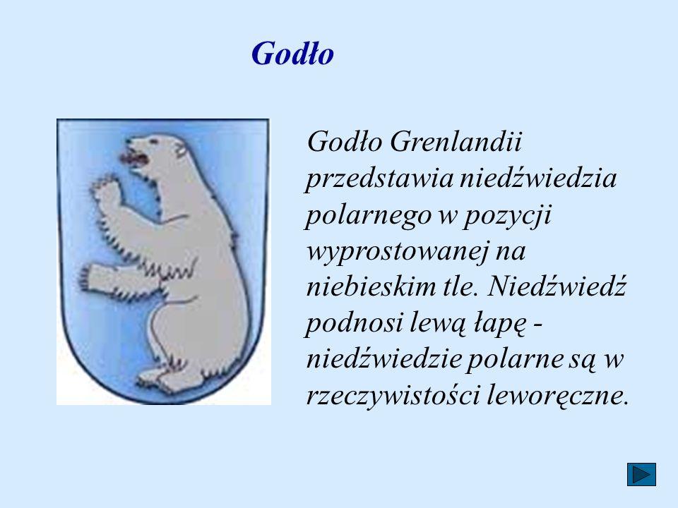 Godło Godło Grenlandii przedstawia niedźwiedzia polarnego w pozycji wyprostowanej na niebieskim tle.