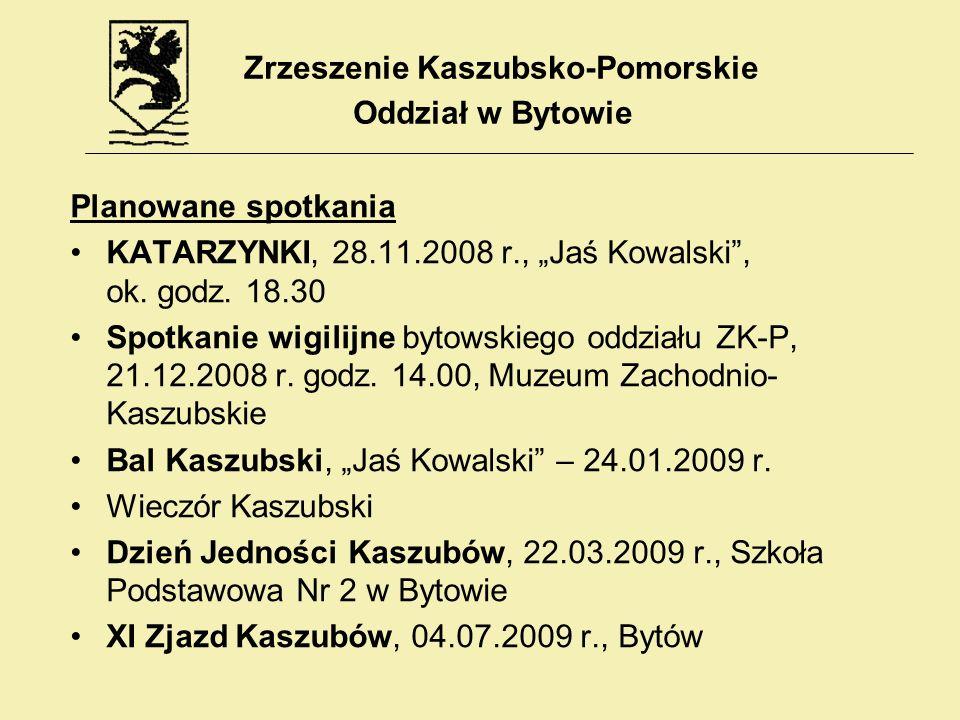 Planowane spotkania KATARZYNKI, 28.11.2008 r., Jaś Kowalski, ok. godz. 18.30 Spotkanie wigilijne bytowskiego oddziału ZK-P, 21.12.2008 r. godz. 14.00,