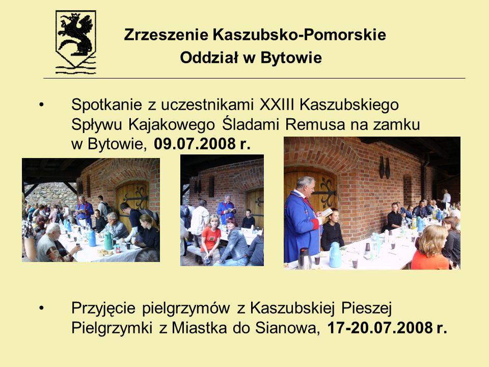 Spotkanie z uczestnikami XXIII Kaszubskiego Spływu Kajakowego Śladami Remusa na zamku w Bytowie, 09.07.2008 r. Przyjęcie pielgrzymów z Kaszubskiej Pie