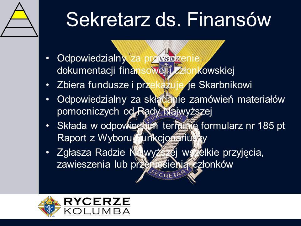 Sekretarz ds. Finansów Odpowiedzialny za prowadzenie dokumentacji finansowej i członkowskiej Zbiera fundusze i przekazuje je Skarbnikowi Odpowiedzialn