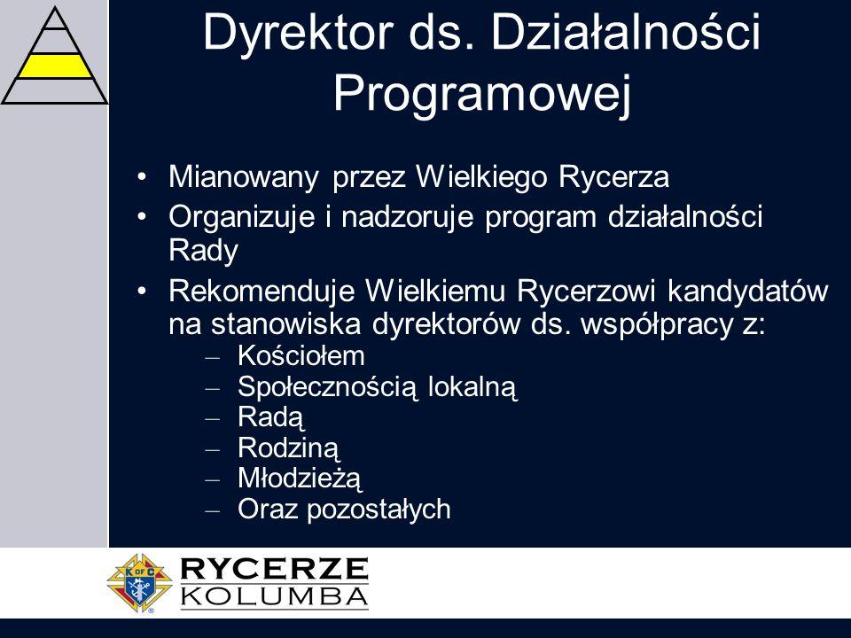 Dyrektor ds. Działalności Programowej Mianowany przez Wielkiego Rycerza Organizuje i nadzoruje program działalności Rady Rekomenduje Wielkiemu Rycerzo