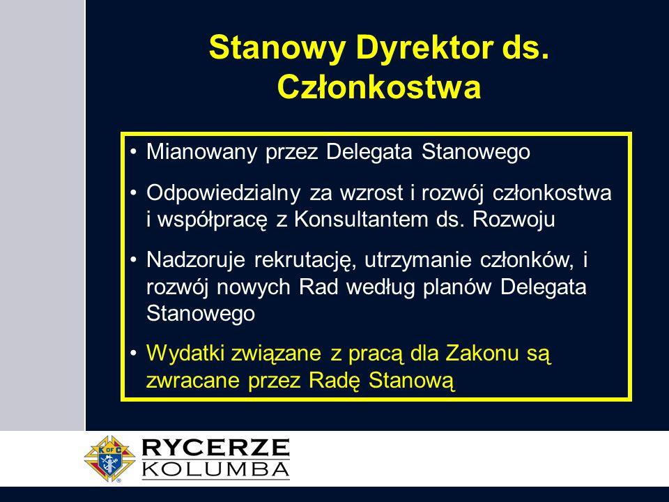 Stanowy Dyrektor ds. Członkostwa Mianowany przez Delegata Stanowego Odpowiedzialny za wzrost i rozwój członkostwa i współpracę z Konsultantem ds. Rozw