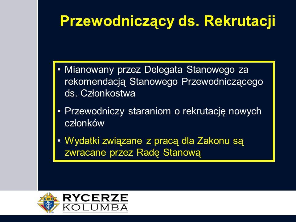 Przewodniczący ds. Rekrutacji Mianowany przez Delegata Stanowego za rekomendacją Stanowego Przewodniczącego ds. Członkostwa Przewodniczy staraniom o r