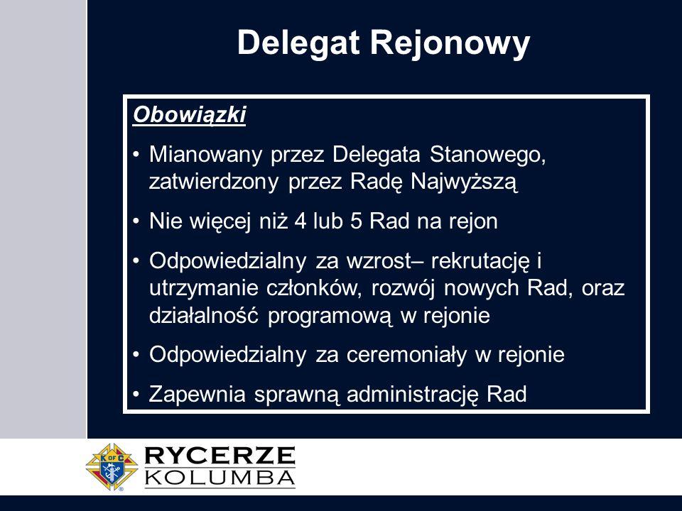 Delegat Rejonowy Obowiązki Mianowany przez Delegata Stanowego, zatwierdzony przez Radę Najwyższą Nie więcej niż 4 lub 5 Rad na rejon Odpowiedzialny za