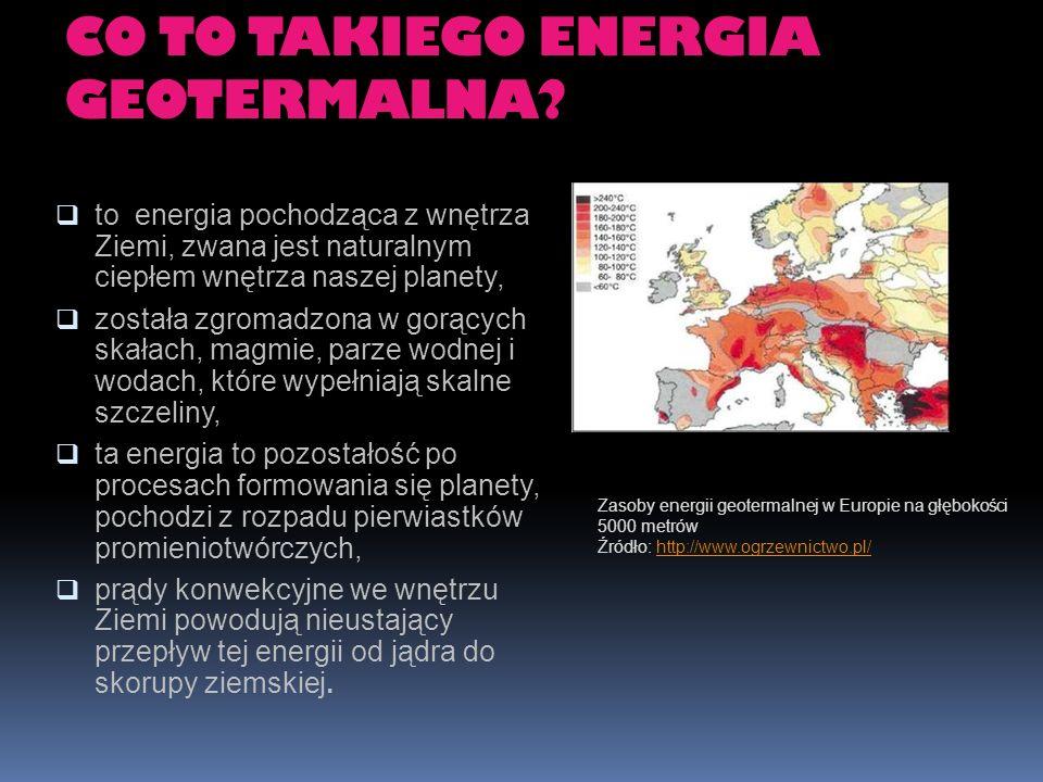 CO TO TAKIEGO ENERGIA GEOTERMALNA? to energia pochodząca z wnętrza Ziemi, zwana jest naturalnym ciepłem wnętrza naszej planety, została zgromadzona w