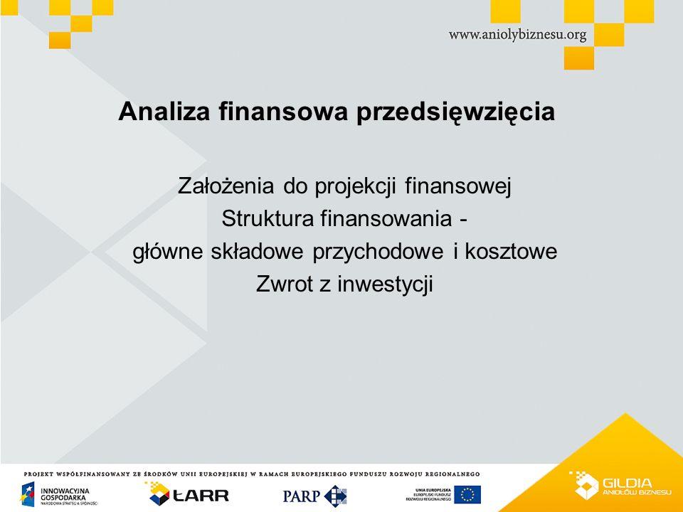 PROJEKT WSPÓŁFINANSOWANY ZE ŚRODKÓW UNII EUROPEJSKIEJ W RAMACH EUROPEJSKIEGO FUNDUSZU ROZWOJU REGIONALNEGO Analiza finansowa przedsięwzięcia Założenia do projekcji finansowej Struktura finansowania - główne składowe przychodowe i kosztowe Zwrot z inwestycji