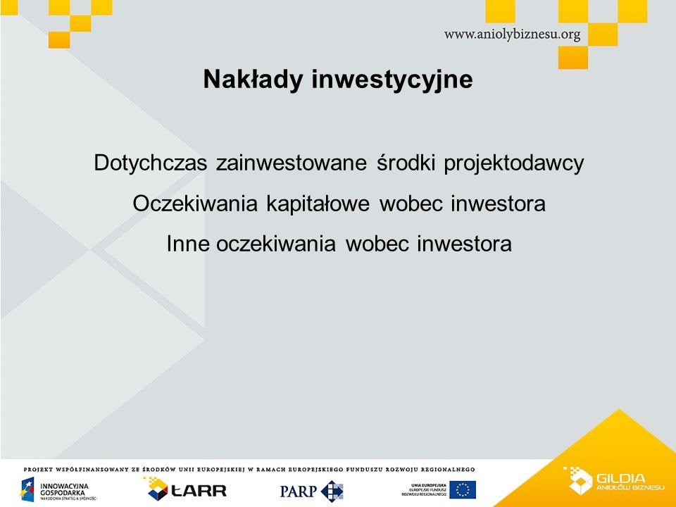 PROJEKT WSPÓŁFINANSOWANY ZE ŚRODKÓW UNII EUROPEJSKIEJ W RAMACH EUROPEJSKIEGO FUNDUSZU ROZWOJU REGIONALNEGO Nakłady inwestycyjne Dotychczas zainwestowane środki projektodawcy Oczekiwania kapitałowe wobec inwestora Inne oczekiwania wobec inwestora