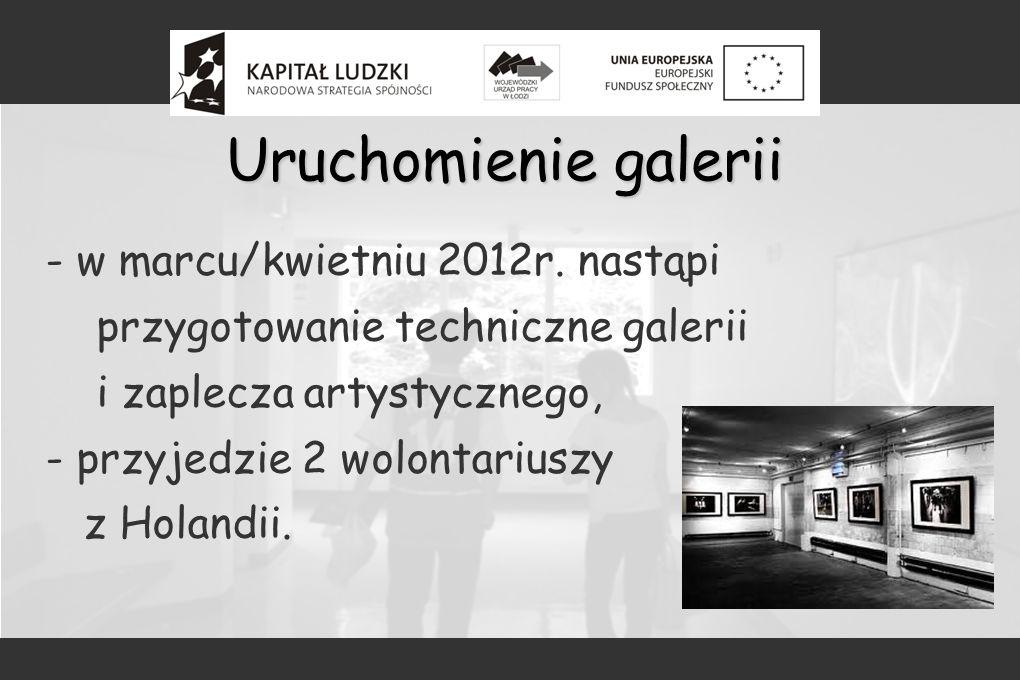 Uruchomienie galerii - w marcu/kwietniu 2012r. nastąpi przygotowanie techniczne galerii i zaplecza artystycznego, - przyjedzie 2 wolontariuszy z Holan