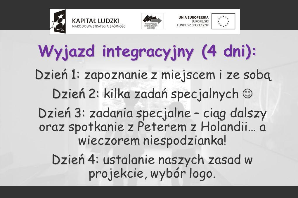 Wyjazd integracyjny (4 dni): Dzień 1: Dzień 1: zapoznanie z miejscem i ze sobą Dzień 2: Dzień 2: kilka zadań specjalnych Dzień 3: Dzień 3: zadania spe