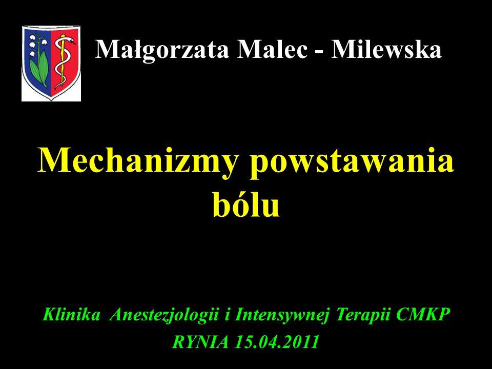 Mechanizmy powstawania bólu Małgorzata Malec - Milewska Klinika Anestezjologii i Intensywnej Terapii CMKP RYNIA 15.04.2011