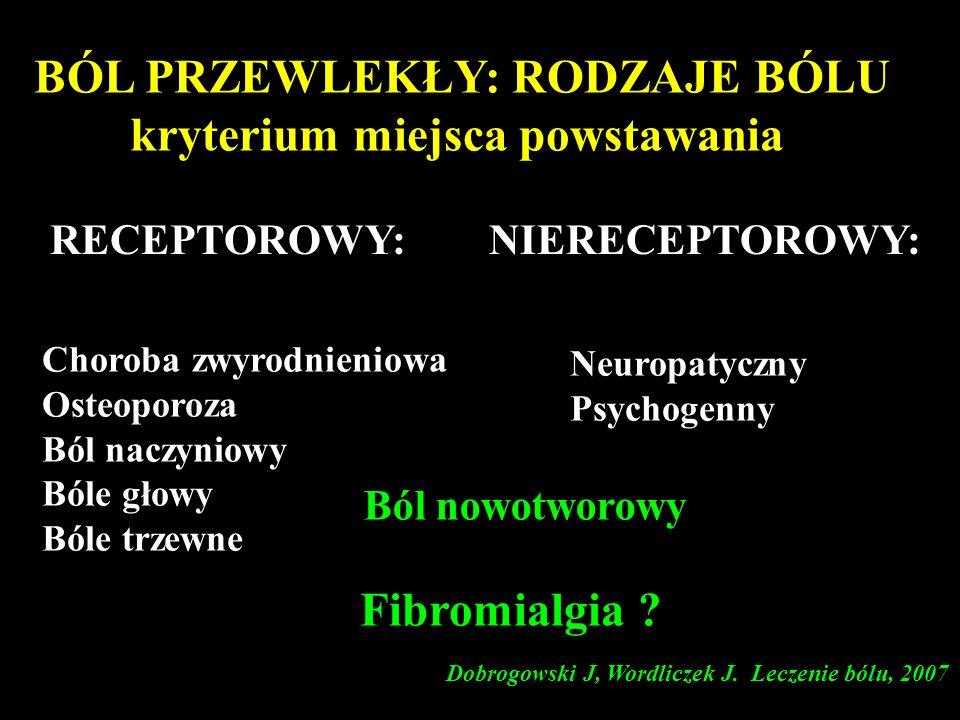 BÓL PRZEWLEKŁY: RODZAJE BÓLU kryterium miejsca powstawania Choroba zwyrodnieniowa Osteoporoza Ból naczyniowy Bóle głowy Bóle trzewne Neuropatyczny Psy