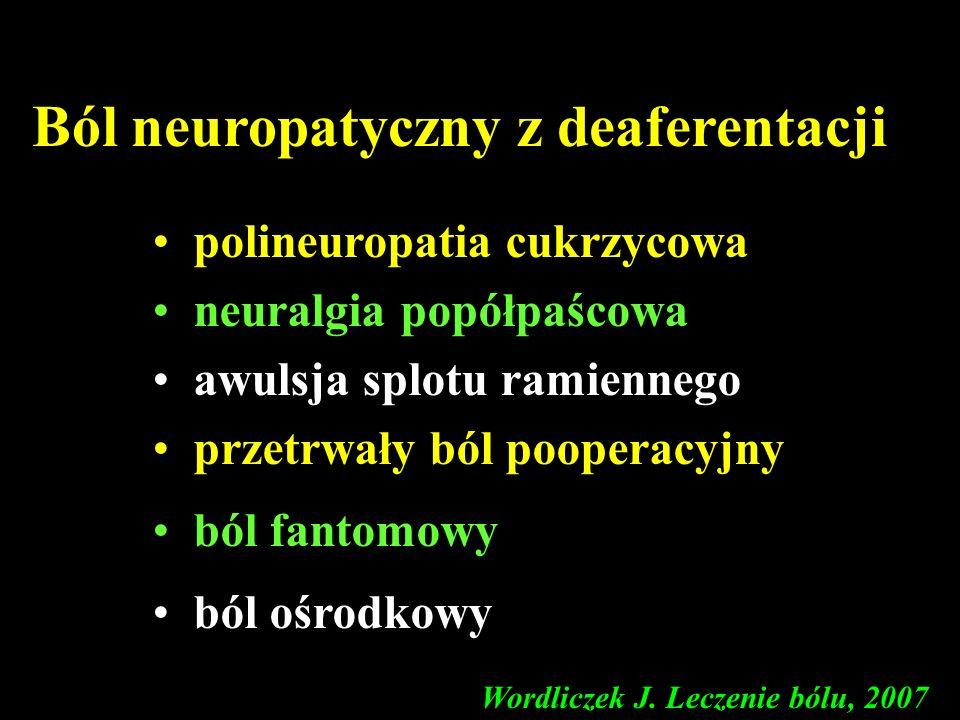 Ból neuropatyczny z deaferentacji polineuropatia cukrzycowa neuralgia popółpaścowa awulsja splotu ramiennego przetrwały ból pooperacyjny ból fantomowy