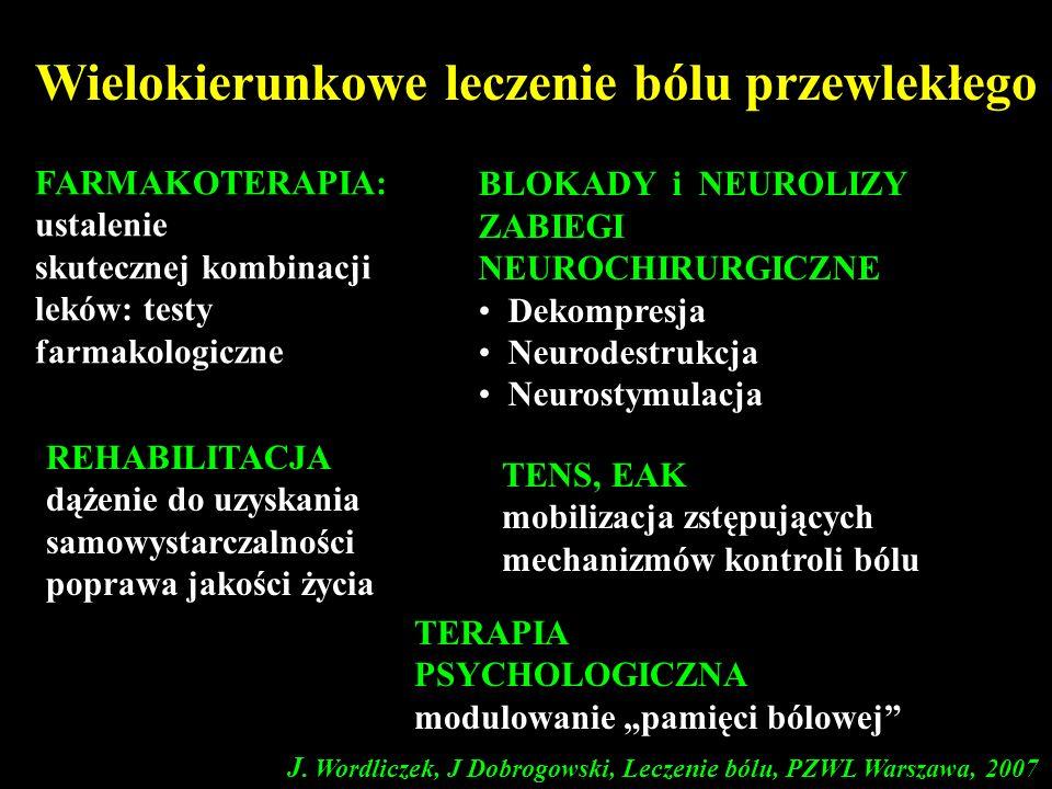 FARMAKOTERAPIA: ustalenie skutecznej kombinacji leków: testy farmakologiczne Wielokierunkowe leczenie bólu przewlekłego TENS, EAK mobilizacja zstępują