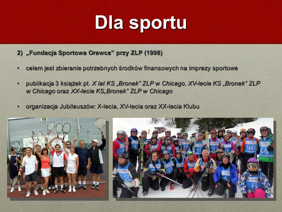 Dla sportu 2)Fundacja Sportowa Orawca przy ZLP (1998) celem jest zbieranie potrzebnych środków finansowych na imprezy sportowe celem jest zbieranie po