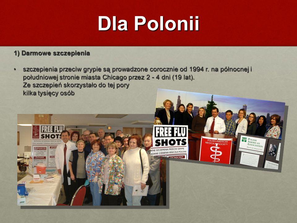 Dla Polonii 1) Darmowe szczepienia szczepienia przeciw grypie są prowadzone corocznie od 1994 r. na północnej i południowej stronie miasta Chicago prz