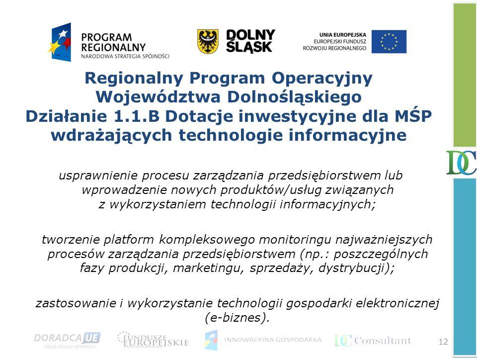 12 Regionalny Program Operacyjny Województwa Dolnośląskiego Działanie 1.1.B Dotacje inwestycyjne dla MŚP wdrażających technologie informacyjne usprawn