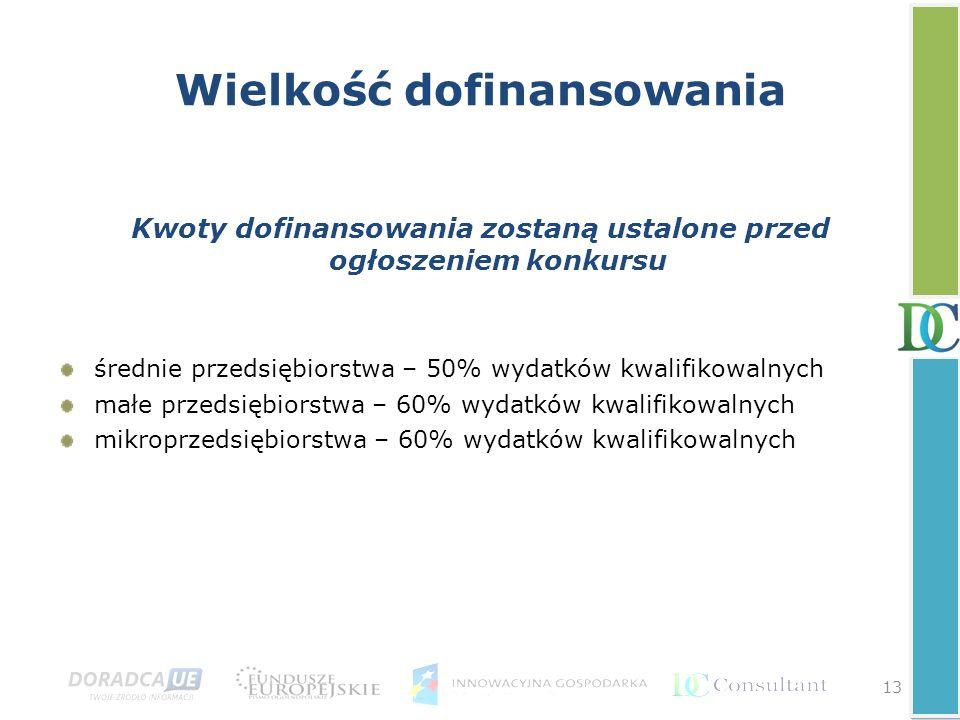 13 Wielkość dofinansowania Kwoty dofinansowania zostaną ustalone przed ogłoszeniem konkursu średnie przedsiębiorstwa – 50% wydatków kwalifikowalnych m