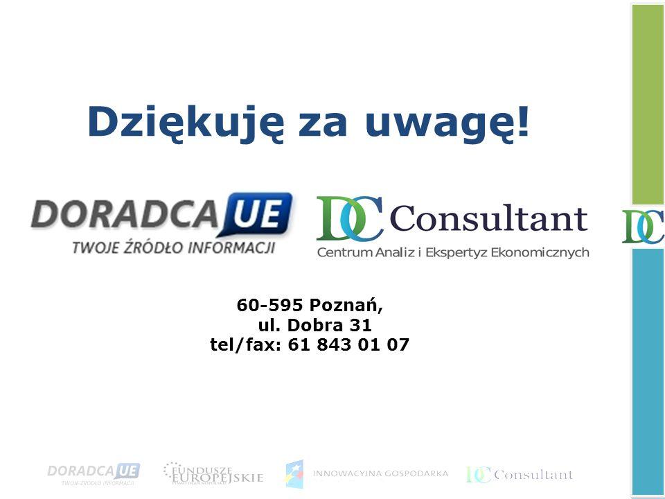 Dziękuję za uwagę! 60-595 Poznań, ul. Dobra 31 tel/fax: 61 843 01 07