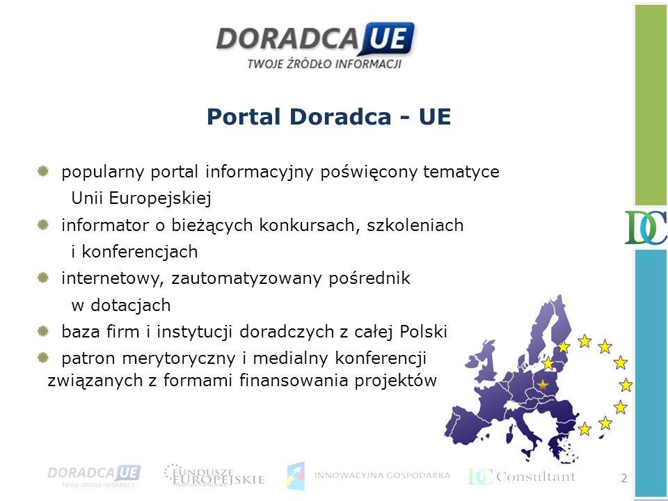 Portal Doradca - UE popularny portal informacyjny poświęcony tematyce Unii Europejskiej informator o bieżących konkursach, szkoleniach i konferencjach