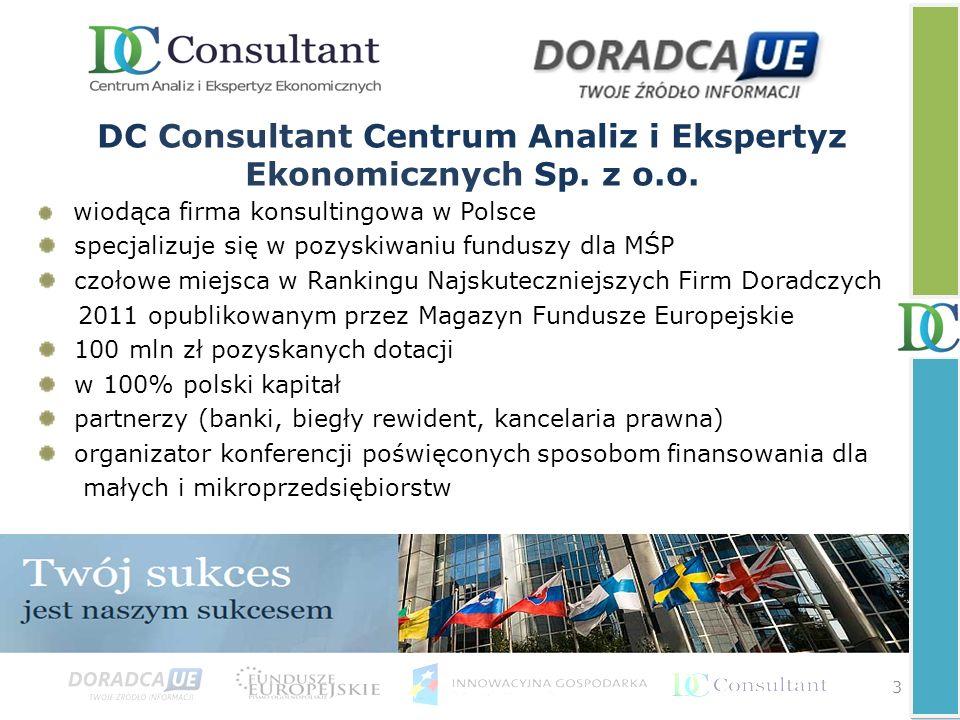 DC Consultant Centrum Analiz i Ekspertyz Ekonomicznych Sp. z o.o. wiodąca firma konsultingowa w Polsce specjalizuje się w pozyskiwaniu funduszy dla MŚ