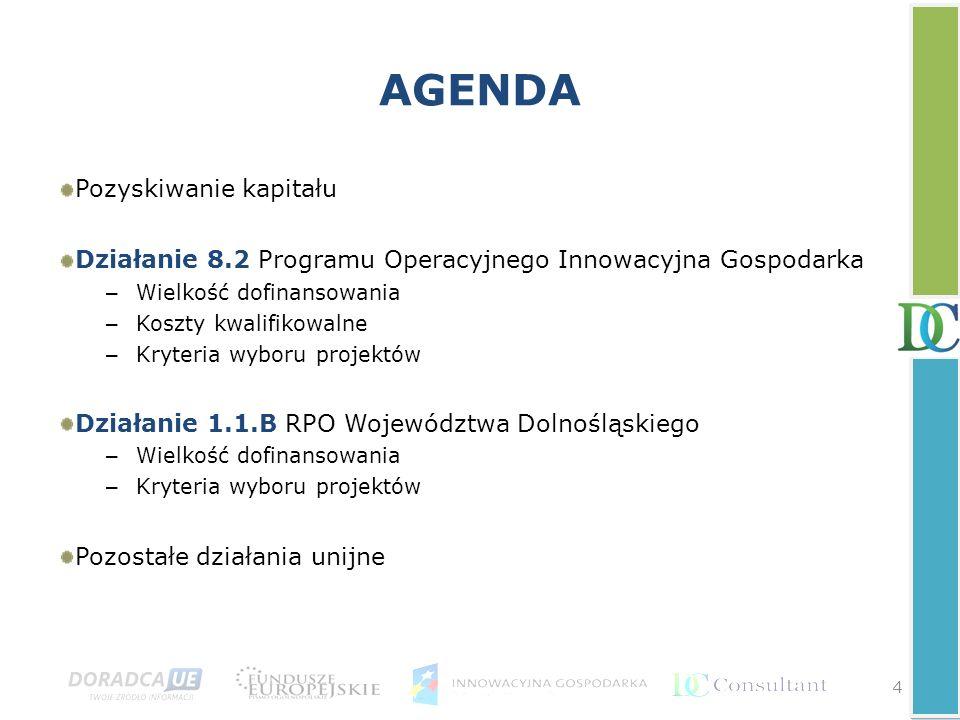 4 AGENDA Pozyskiwanie kapitału Działanie 8.2 Programu Operacyjnego Innowacyjna Gospodarka – Wielkość dofinansowania – Koszty kwalifikowalne – Kryteria