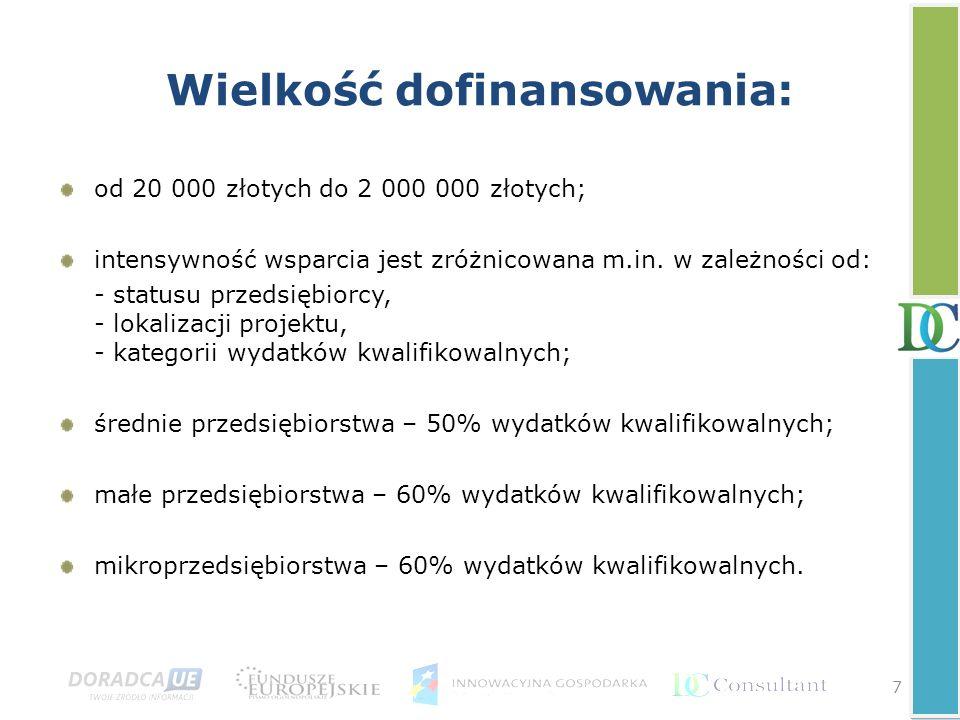 7 Wielkość dofinansowania: od 20 000 złotych do 2 000 000 złotych; intensywność wsparcia jest zróżnicowana m.in. w zależności od: - statusu przedsiębi