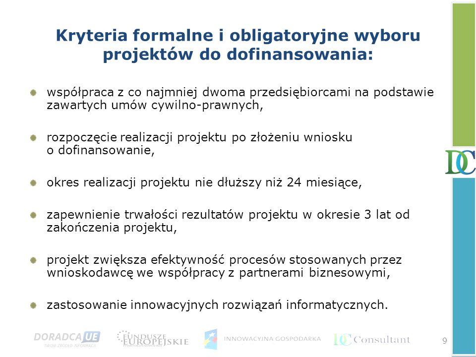 9 Kryteria formalne i obligatoryjne wyboru projektów do dofinansowania: współpraca z co najmniej dwoma przedsiębiorcami na podstawie zawartych umów cy