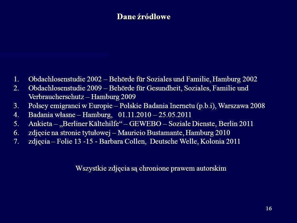 16 1.Obdachlosenstudie 2002 – Behörde für Soziales und Familie, Hamburg 2002 2.Obdachlosenstudie 2009 – Behörde für Gesundheit, Soziales, Familie und