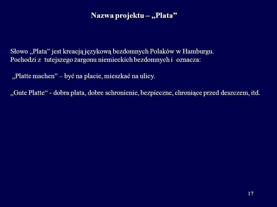 17 Słowo Plata jest kreacją językową bezdomnych Polaków w Hamburgu. Pochodzi z tutejszego żargonu niemieckich bezdomnych i oznacza: Platte machen – by