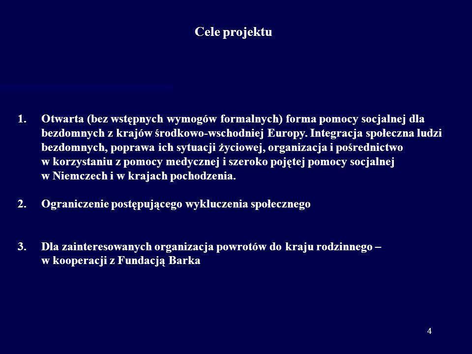5 Analiza wstępnej fazy projektu - liczba kontaktów (01.11.2010 – 25.05.2011) 1.Pierwsze kontakty – nawiązano kontakt z 418 osobami bezdomnymi 2.Ilość wszystkich kontaktów - 1.962 kontaktów (w tym rozmowy grupowe) 3.Powroty - 49 osób wróciło do Polski, po 2 osoby wróciły do Rumunii, na Litwę i na Słowację 4.Integracja na miejscu- 3 osobom przyznano zasiłki socjalne, 5 bezdomnych osób znalazło stałą pracę z zakwaterowaniem – do 01.05.2011 80 % skontaktowanych osób posiada polskie obywatelstwo, drugą co do wielkości grupę stanowią obywatele Rumunii