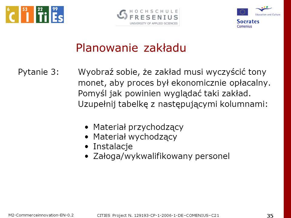 M2-Commerceinnovation-EN-0.2 CITIES Project N. 129193-CP-1-2006-1-DE–COMENIUS–C21 35 Planowanie zakładu Pytanie 3: Wyobraź sobie, że zakład musi wyczy