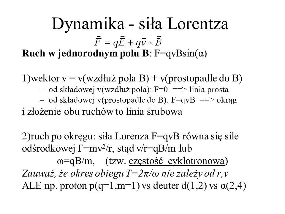 Dynamika - siła Lorentza Cyklotron: służy do przyspieszania α(p); nie e=elektrony Natura: mono-energetyczne α Akceleratory liniowe: wiemy (szkoła średnia), że przyłożone napięcie U to przyrost energii cząstki Δ=qU, ale są istotne ograniczenia techniczne, maxU<10 6 [V] Akceleratory kołowe: cyklotron=2 duanty (jak płaskie pudełko po kremie, przecięte wzdłuż osi).
