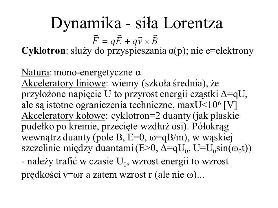 Dynamika - siła Lorentza Cyklotron: jak działa...półokrąg o większym promieniu r wewnątrz drugiej duanty i ponownie do szczeliny między duantami, ale - teraz musimy trafić w moment gdy napięcie U = -U 0.