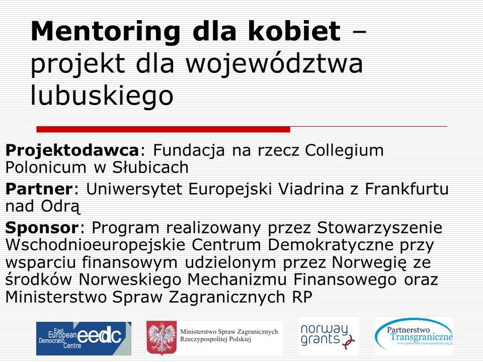 Mentoring dla kobiet – projekt dla województwa lubuskiego Projektodawca: Fundacja na rzecz Collegium Polonicum w Słubicach Partner: Uniwersytet Europe